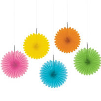 Multicolor Hanging Fans 6in 5ct