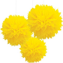 Sunshine Yellow Fluffy Decorations 3ct