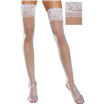 Adult Sheer White Thigh High Stockings with Lace Top