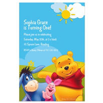 Pooh in Sunshine Custom Invitation