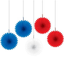 Red, White & Blue Fans 6in 5ct