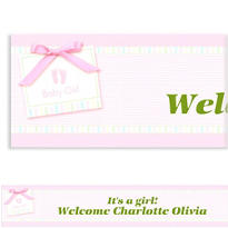 Pink Baby Soft Footprints Custom Baby Shower Banner 6ft
