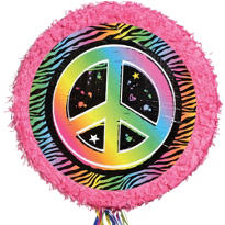 Neon Peace Sign Pinata 18in
