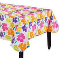 Hibiscus White Vinyl Table Cover 90in
