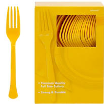 Sunshine Yellow Premium Plastic Forks 100ct