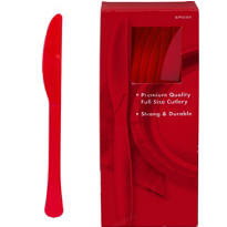 Red Premium Plastic Knives 100ct