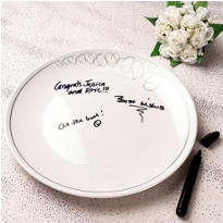 Wedding Autograph Plate with Marker 12in