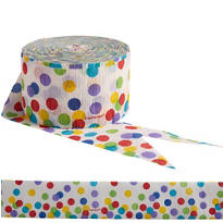 Multi Dot Print Crepe Streamer 81ft