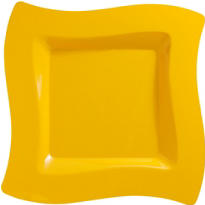 Sunshine Yellow Premium Plastic Wavy Dinner Plates 10ct