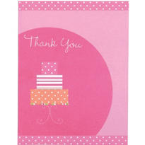 Pink Cake Bridal Shower Thank You Notes 12ct