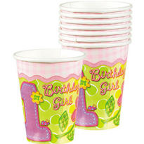 Pink Hugs & Stitches 1st Birthday Cups 8ct