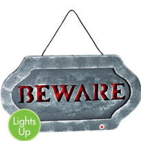 Light-Up Beware Sign 21in