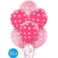 Latex Pink Polka Dot Balloons 20ct