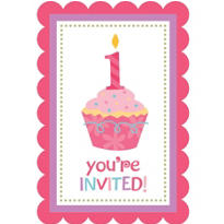 Pink Sweet Little Cupcake 1st Birthday Invitations 8ct