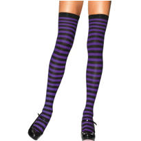 Striped Purple and Black Over the Knee Socks