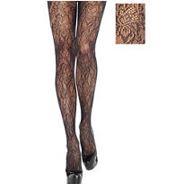 Adult Baroque Black Lace Pantyhose