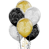 Latex Black, Gold and Silver Confetti Birthday Printed Balloons 12in 20ct