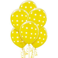Latex Yellow Polka Dots Printed Balloons 12in 6ct