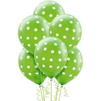 Latex Kiwi Polka Dots Printed Balloons 12in 6ct