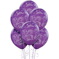 Latex Purple Confetti Birthday Printed Balloons 12in 6ct