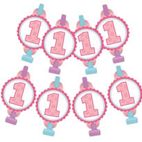 Pink 1st Birthday Blowouts 8ct