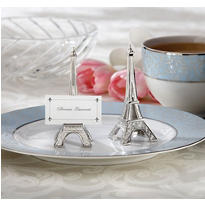 Eiffel Tower Silver-Finish Place Card Holder Wedding Favor 4ct