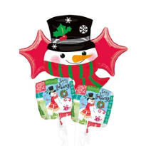 Happy Holidays Snowman Balloon Bouquet 5pc