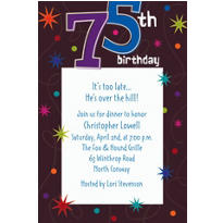 The Party Continues 75 Custom Invitation
