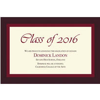 Burgundy Austere Border Custom Graduation Announcement