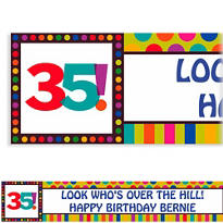 Birthday Dots & Stripes 35 Custom Banner 6ft