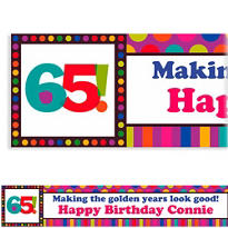 Birthday Dots & Stripes 65 Custom Banner 6ft