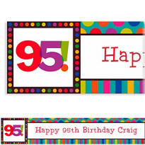 Birthday Dots & Stripes 95 Custom Banner 6ft