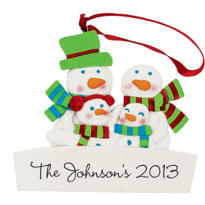 Family of Four Personalized Christmas Ornament 3 1/2in x 3in
