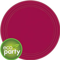 Eco Friendly Raspberry Round Paper Lunch Plates 9in 24ct