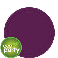 Eco Friendly Plum Round Paper Dessert Plates 7in 24ct
