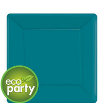 Eco Friendly Peacock Blue Square Paper Dessert Plates 7in 20ct