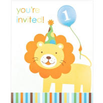 Sweet At One Boys 1st Birthday Invitations 8ct
