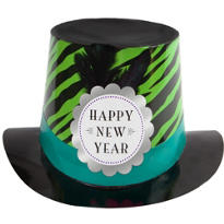 Leopard Print New Years Top Hat 6in