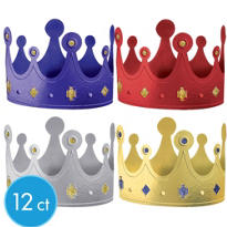 Gold Glitter Accent Crowns 12ct