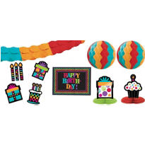 Happy Birthday Room Decorating Kit 10pc - Rainbow Dot