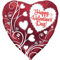 Foil Valentines Day Heart Flower Balloon 18in