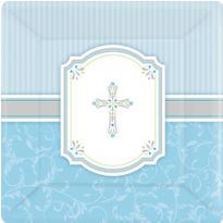 Blue Communion Blessings Dinner Plates 8ct