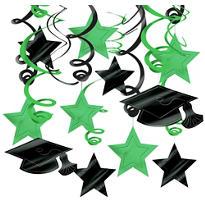 Green Graduation Swirl Decorations 30ct