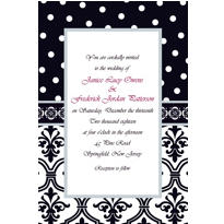 Damask & Polka Dot Custom Wedding Invitation