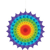 Rainbow Paper Fan Decoration 16in
