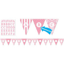Light Pink Personalize It Pennant Banner Kit 28pc