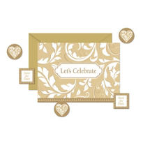 Gold Let's Celebrate Invitations 8ct