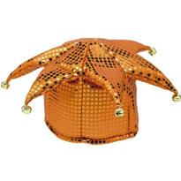 Orange Sequined Jester Hat