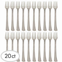 Silver Finish Plastic Mini Forks 4in 20ct