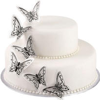 Black & White Glitter Butterfly Cake Picks 12ct